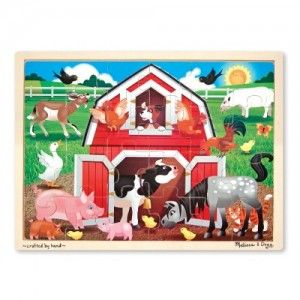 Melissa and Doug - Barnyard Buddies Jigsaw 24pc: Kids will love putting together this 24-piece wooden jigsaw puzzle to reveal a busy barn scene that is bursting with colorful farm animals! When the puzzle is complete, the jigsaw stores neatly in its sturdy wooden puzzle board. #alltotstreasures #melissaanddoug #barnyardbuddiesjigsaw24pc #woodentoys #farm #puzzle