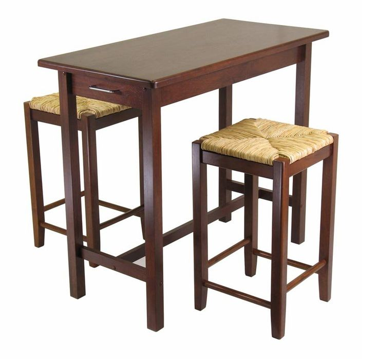 wood 3 piece pub table set with bar stools
