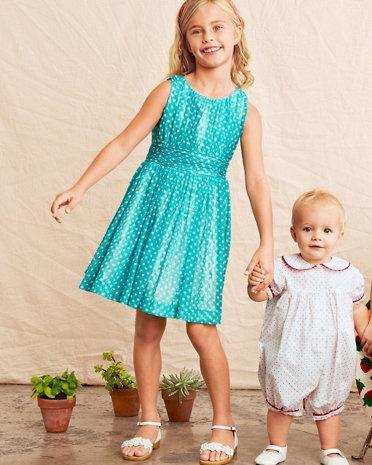 Polka-Dot Ruched-Bodice Dress by Helena & Harry - Girls