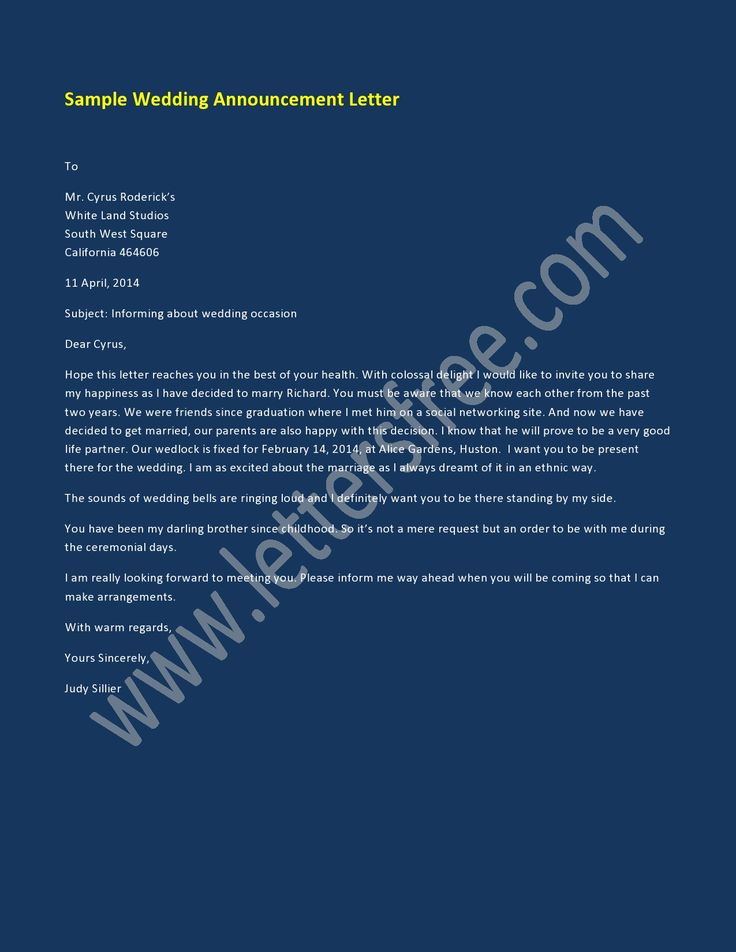 7 best Announcement Letter Examples images on
