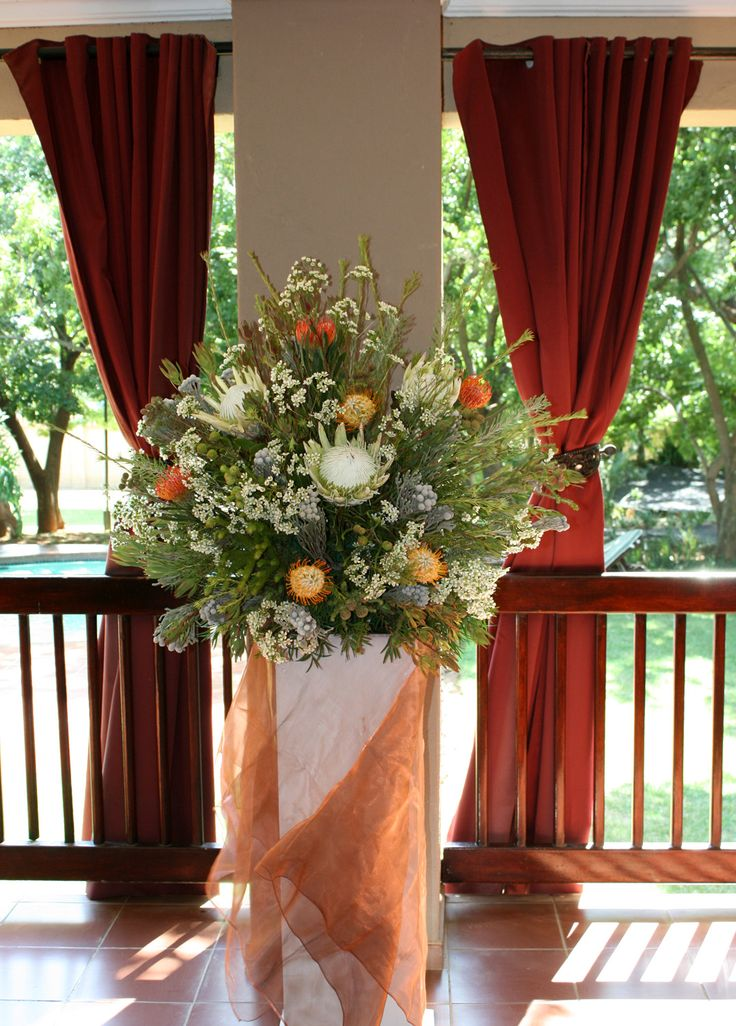 Wedding flowers indigenous Proteas and Pincushions Monchique Boutique Guest House Muldersdrift