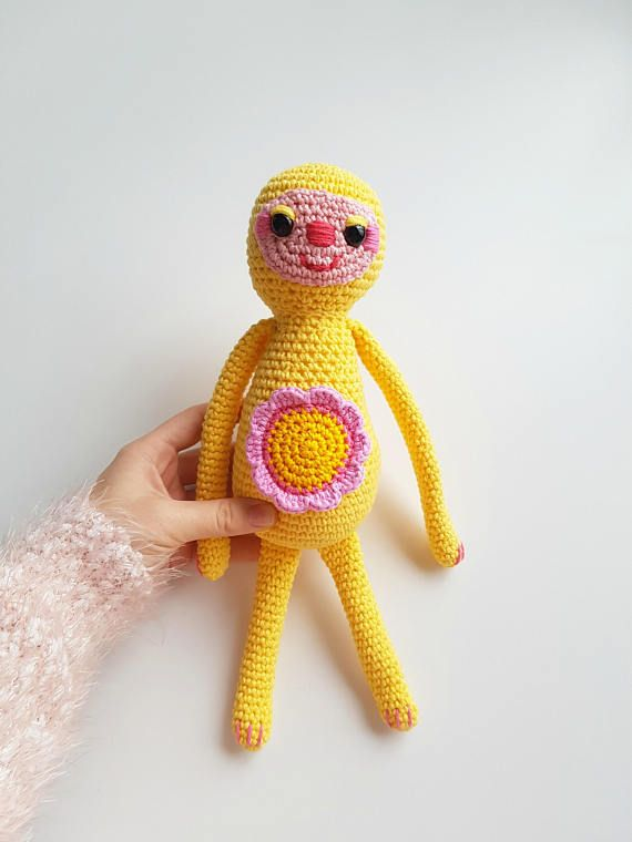 Crochet Sloth Plushie  Sunshine Yellow Sloth Doll  Floral