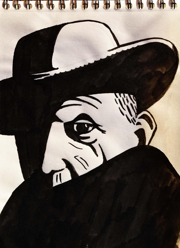 Trabajo realizado con tinta china mediante la técnica de manchado por María Olmos.