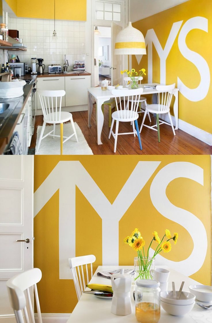 Decoration, Exquisite Yellow Painted Rooms Combining With Kitchen  Typography Wall Also Big Covers Pendant Lamp And Sunflowers Ornament Along.