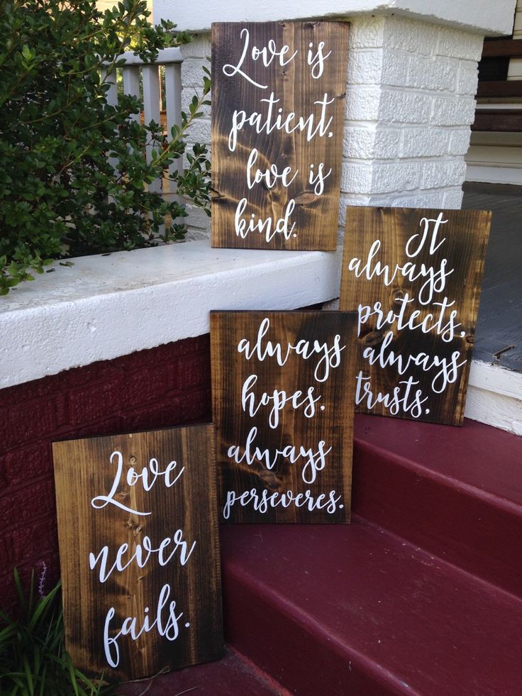 Love is patient, love is kind, 1 Corinthians 13, Wedding aisle signs, set of 4, hand painted rustic wood signs by SignsAndSignatures on Etsy https://www.etsy.com/listing/387439682/love-is-patient-love-is-kind-1