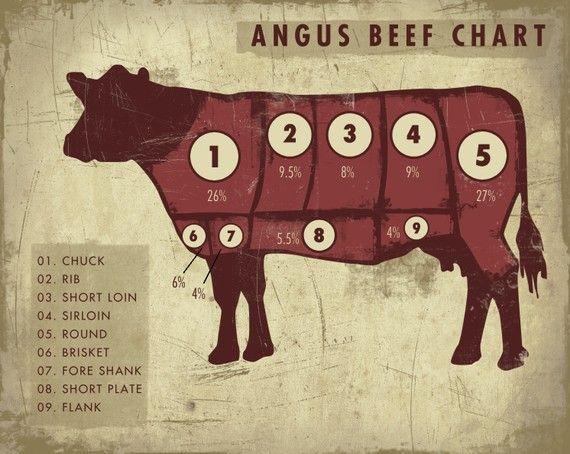 CupcakeMountain  Angus Beef Chart Art Print    Angus beef