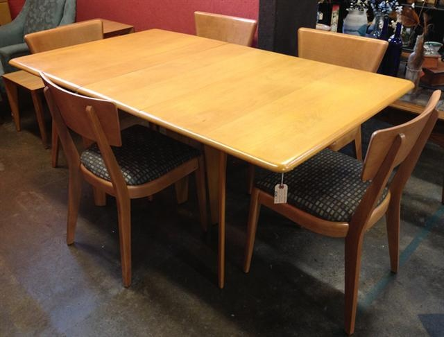 Midcentury Modern Heywood Wakefield Dining Table 6 Chairs