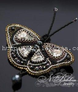 Брошь-бабочка из бисера своими руками. Мастер-класс Надежды Белоконь