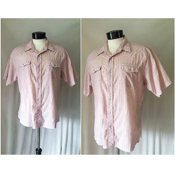 Mens Vintage Wrangler Shirt // Light Pink & Grey White Pinstripes Short Sleeve Western Shirt // Pastel Western Yoke Pearl Snap Shirt Size XL