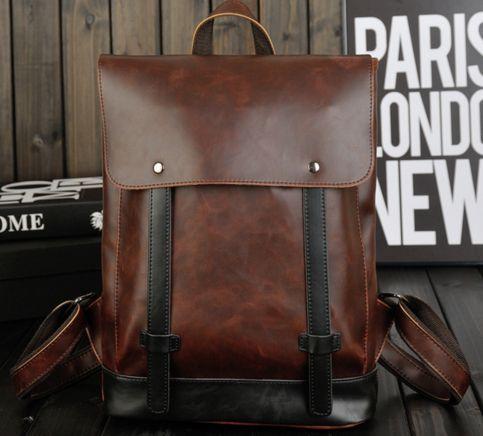School Backpack Unisex Leather Book Bag Brown Bags for School Travel RuckSack