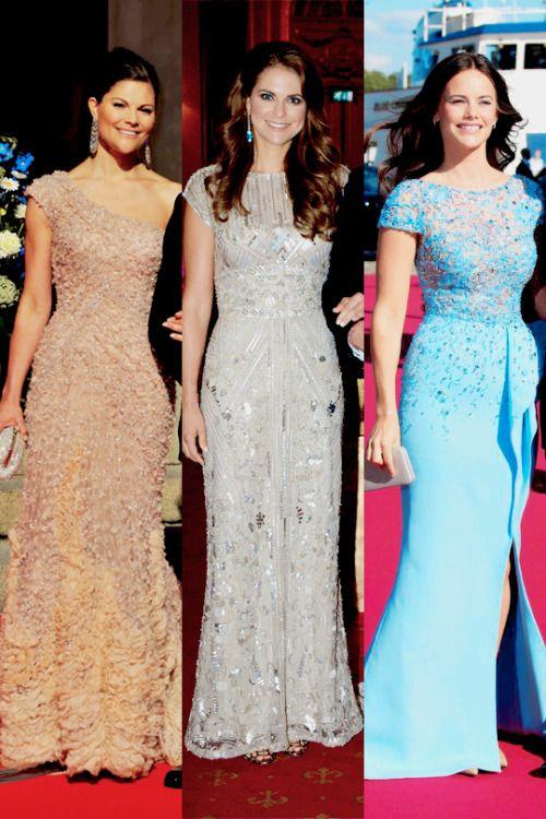 middletonroyalty:  Swedish Pre-Wedding Dinners-Crown Princess Victoria in Elie Saab, 2010; Princess Madeleine in Elie Saab, 2013; Sofia Hellqvist in Zuhair Murad, 2015