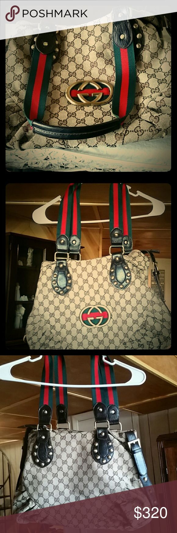 Gucci large sized purse Authentic, Vintage, GUCCI satchel. I hate to part with; but I have new ones that took its place, as we all let happen.  No dustbag. Large Monogram symbols, Gucci Satchel, size large.  The purse is chocolate and a golden beige. . With GUCCI symbols all over purse with the darling red and green straps.   **The main zipper, not the one on inside, gets stuck sometimes; but that's easily taken care of.**    I have deducted the, zipper getting stuck at times.  Feel free to…