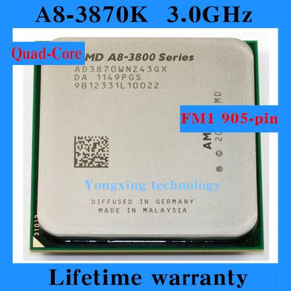 Lifetime warranty A8 3870K 3.0GHz 4M Quad Core desktop processors AD3870 CPU Socket FM1