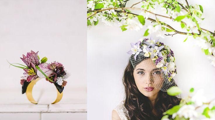 Anello e veletta adornati con fiori e piante vive da Susan McLeary. Un'idea originale e romantica per un matrimonio a tema!