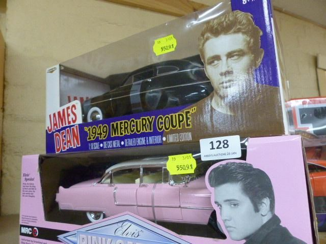 If you're a fan of model cars or mid-19th century legends, you will love this Elvis Presley 1955 pink Cadillac and American Muscle James Dean 1949 Mercury coupe, both 1:18 scale
