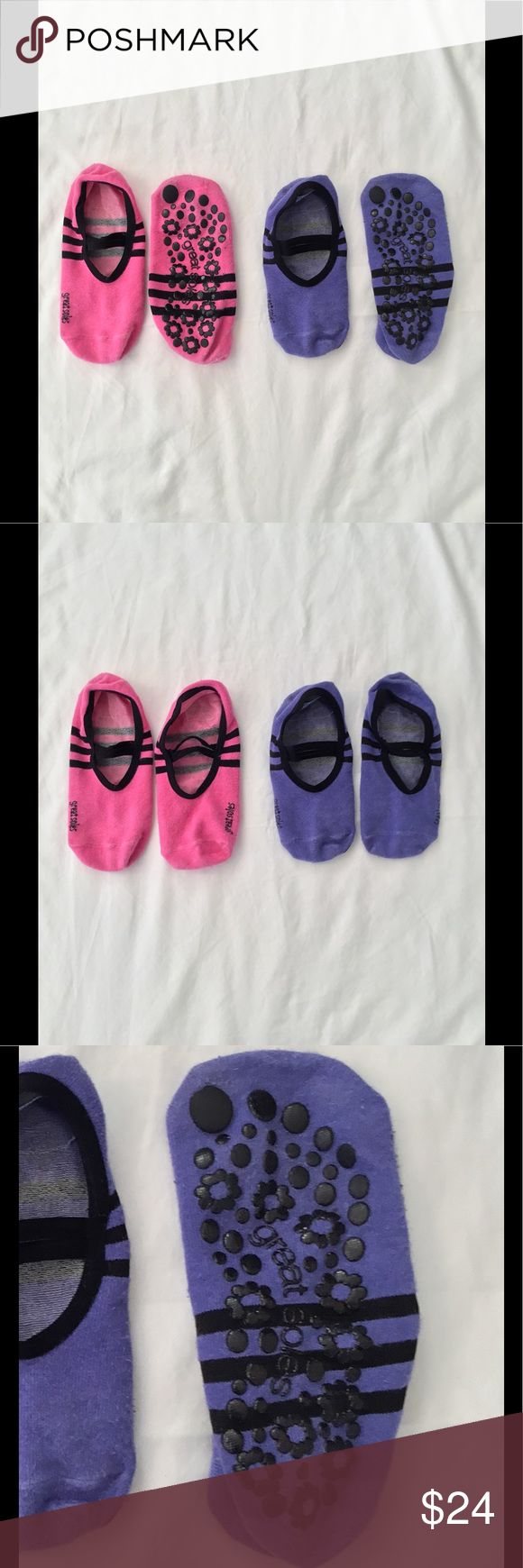 Great Soles sticky socks for barre - 2 pairs Great Soles sticky socks - perfect for Pure Barre, Bar Method, or any other time you need to rock stickies! 2 pairs, one pink and one purple, both with black detailing.  I love the straps along the top because they make me feel like a ballerina! GUC, lots of life left. Great Soles Other