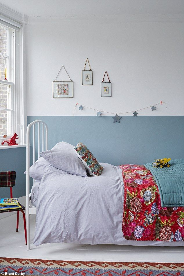 Celia painted a half wall of Farrow & Ball's Stone Blue (farrow-ball.com) in Oscar's bedro...