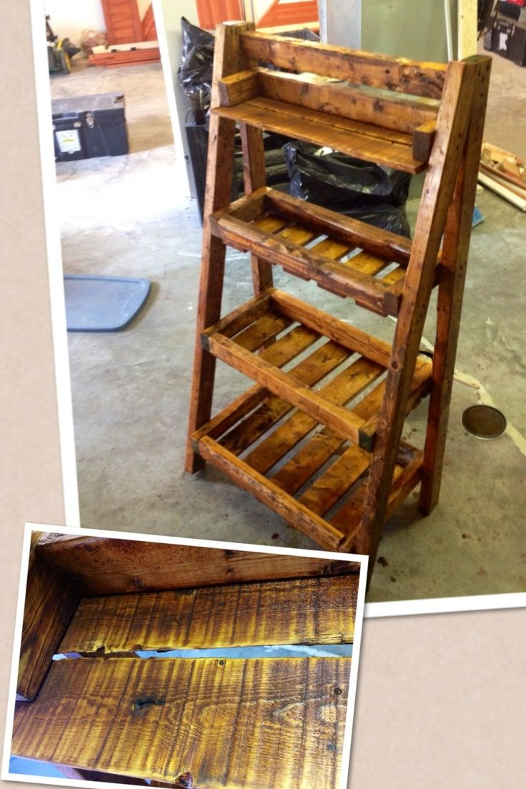 Brilliant Diy Lacquered Pallet Wood Ladder Shelf Idea In