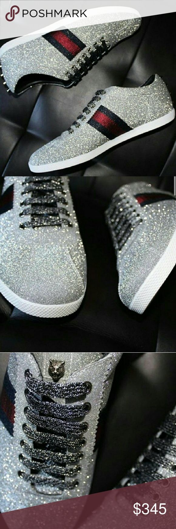 Gucci glitter studded sneakers size 12 Low-top sneaker in a sparkling fabric with Web detail. Men'sSilver glitter fabric with blue and red Web detail. narrow cut shoe. Size 12 Gucci Shoes Sneakers