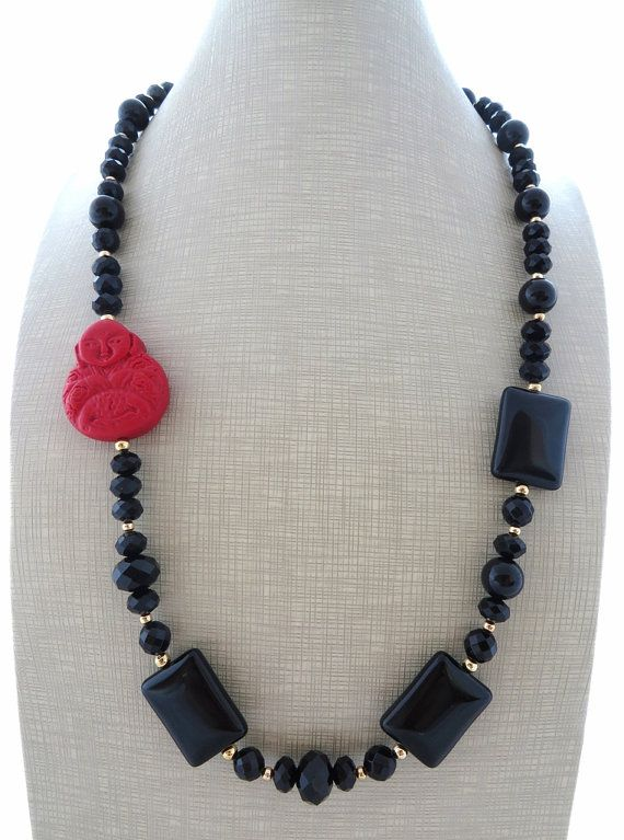 Buddha necklace red cinnabar necklace black onyx by Sofiasbijoux