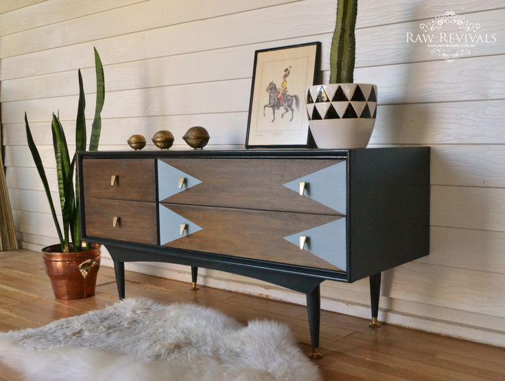Original 60s Mid Century Sideboard. Hand painted geometric detail on drawers. retro sideboard www.rawrevivals.com.au