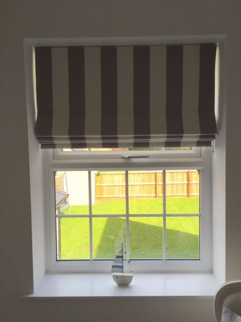 Contemporary roman blind for a baby boys bedroom - #designedbyjustso #romofabric #stripe #boysbedroom #romanblind