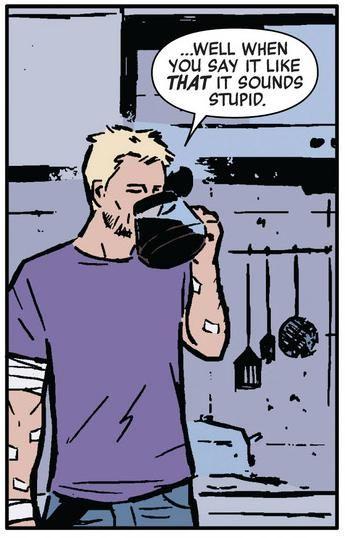 Hawkeye needs his coffee.