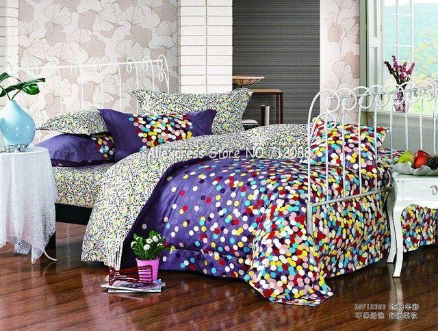 gloednieuwe kleurrijke stippen patroon paarse achtergrond koningin katoenen hoezen beddengoed dekbed dekbed/dekbedovertrek sets 4pc