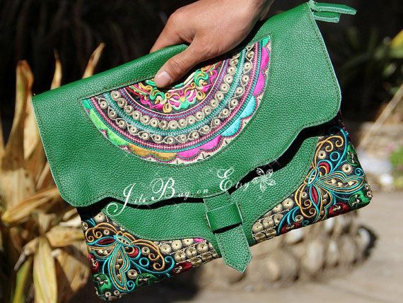 Clutch Bag - Leather Embroidery Ethnic Bag for Women - Handmade ...
