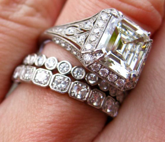 "We think this ring shouts ""Retro"" louder than any piece we've seen recently. It's a 2.52-carat emerald-cut diamond with a platinum vintage-style setting."