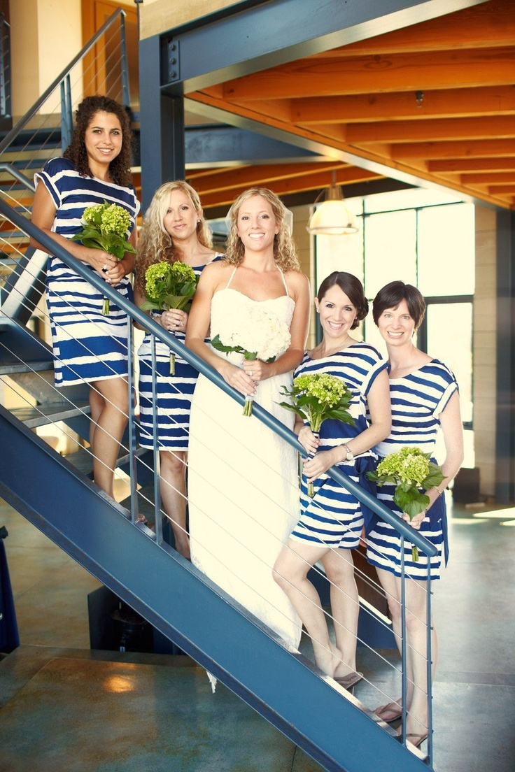 Casual, rewearable bridesmaid dresses... AND they're striped.