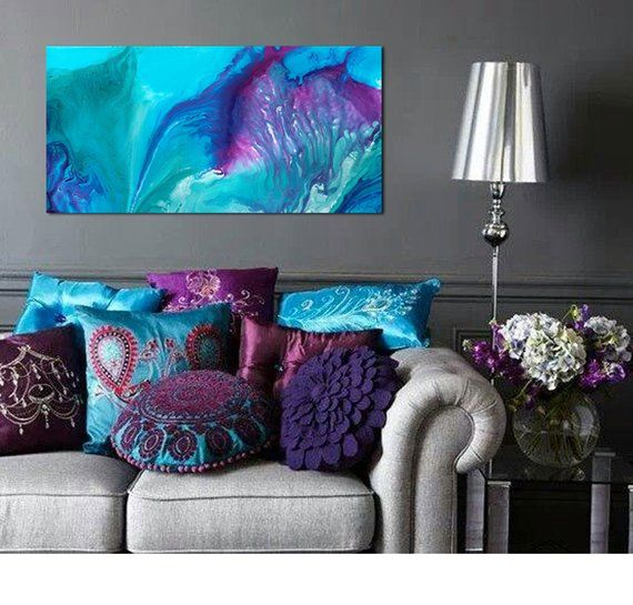Teal Abstract Large Wall Art Bohemian Decor Peacock Colors Purple Home Decor Purple Living Room Turquoise Living Room Decor #peacock #colors #living #room