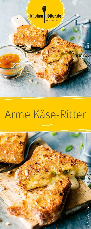 Dieses Gericht ist der absolute Klassiker! Arme Ritter gefüllt mit cremigem, geschmolzenen Käse im Inneren. Das luftige Toastbrot wird mit einer knusprigen Nusshülle ummantelt und goldbraun gebacken. Dazu ein fruchtiges Mango-Chutney und das deftige Frühstück ist komplett!