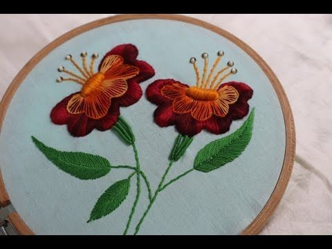 Hand Embroidery Designs | Jacobean flower design | Stitch and Flower-131 - YouTube
