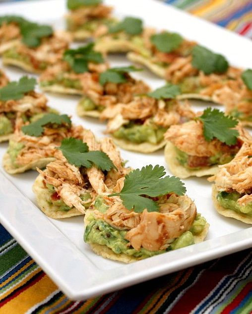 Try these chipotle chicken tostada bites with a glass of Pink Moscato. It's divine!: Chicken Tostadas, Chipotle Chicken, Mexican Appetizer, Tostada Bites, Finger Food, Party Food