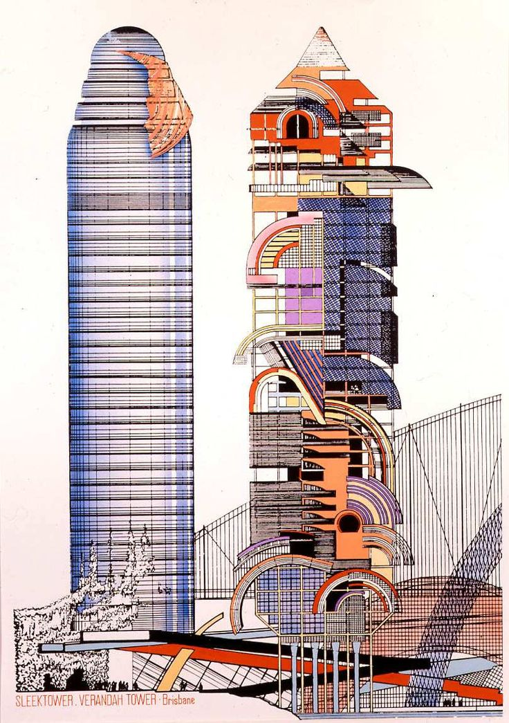 Peter Cook, Design for Sleektower and Veranda Tower, Brisbane, Queensland, Australia, 1984Print, coloured (101 x 73.5 cm) via