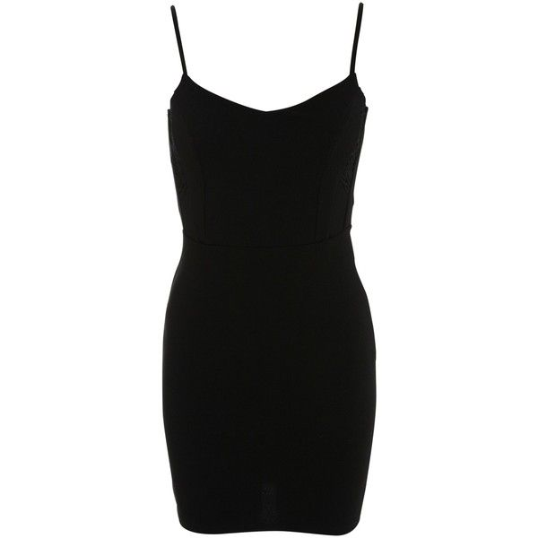 Miss Selfridge Petite Lace Insert Bodycon Dress, Black ($46) ❤ liked on Polyvore featuring dresses, petite, black midi dress, black mini dress, lace cocktail dress, lace maxi dress and black cocktail dresses