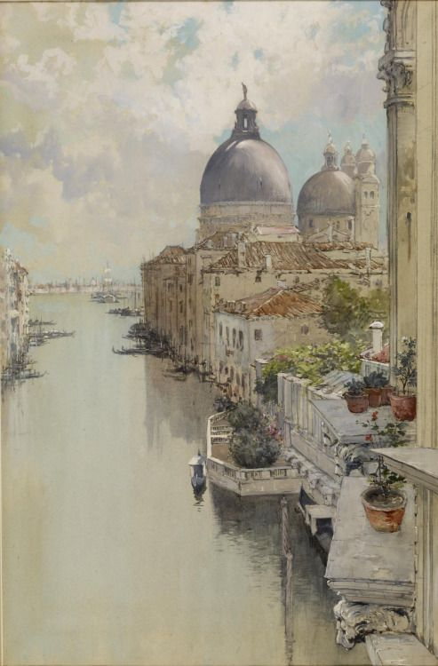 ":  """"Over a Balcony,"" View of the Grand Canal, Venice, 1897, Francis Hopkinson Smith  """