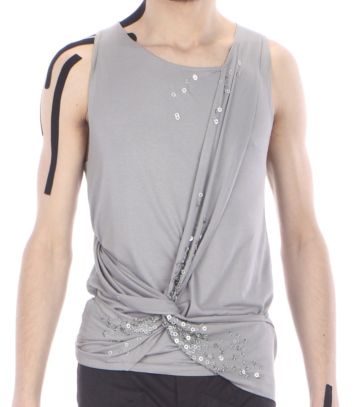 Detail: draped top ( cotton jersey with embroided metal pieces)