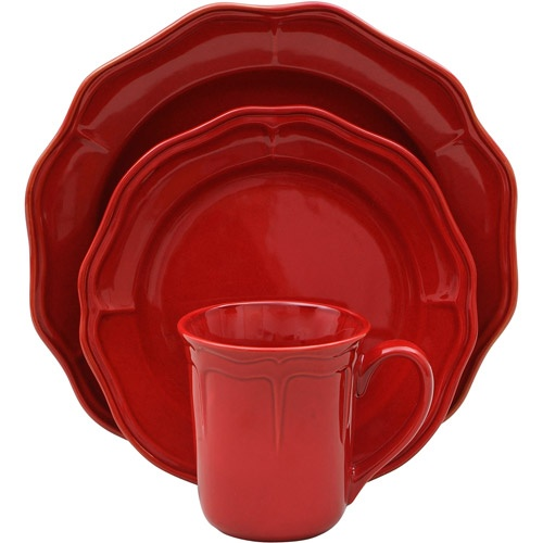 Better Homes And Gardens Simply Fluted 16 Piece Dinnerware Set Red G