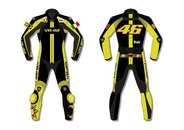 Valentino Rossi VR 46 Motorcycle leather suit (DS-1002). Available Now at €550. Sizes Available. Delivery time: 10-15 working Days. Paypal accepted. Free Delivery Worldwide Delivering Safety Worldwide..  Email: motorgarments@gmail.com