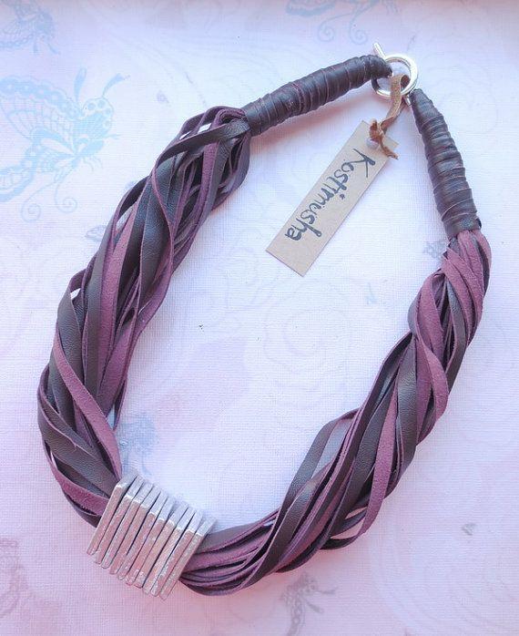 Purple Leather Necklace Aluminum Spacers String Necklace Leather Jewelry Statement Necklace