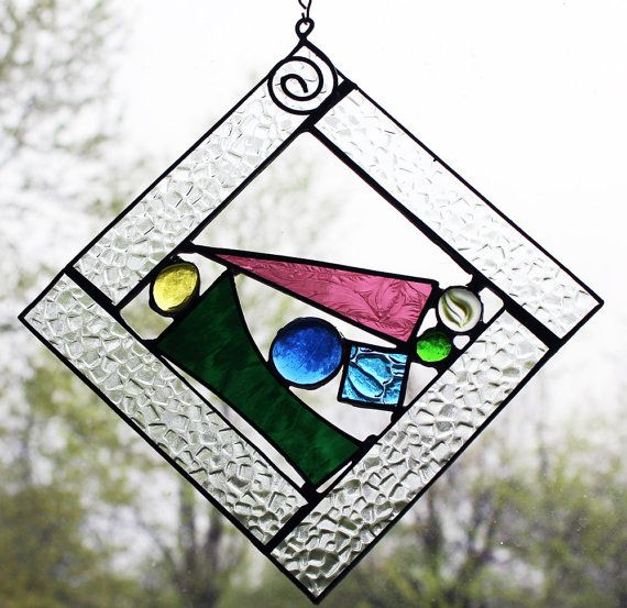 Stained Glass Window Panel  Square  Small Multi Colored by LAGlass, $31.00