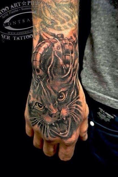 Contrast ink Tattoo  Cat Art by  Arild Flatebø