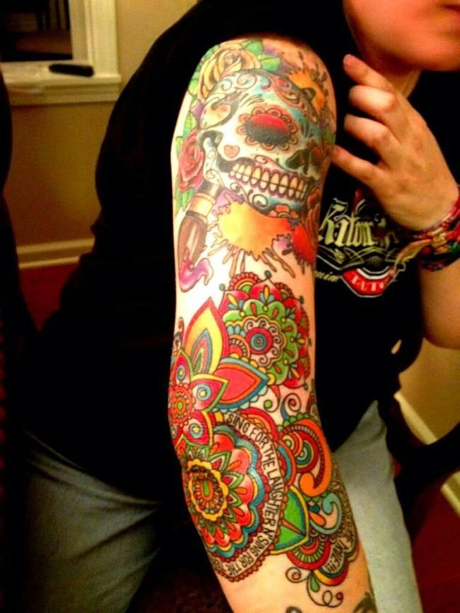sugar skull sleeve tattoo - Google Search