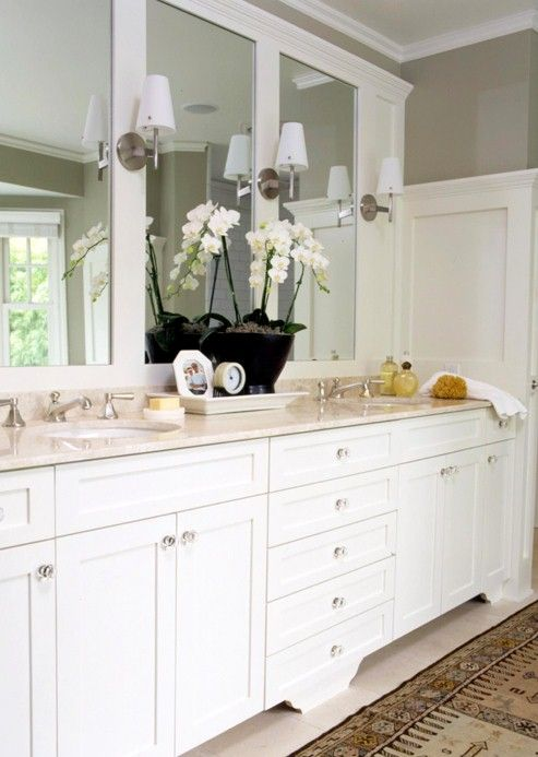 Like the molding around the mirrors: Bathroom Design, Vintage Bathroom, Wall Mirror, Bathroom Mirror, Bathroom Ideas, White Bathroom, Master Bath, Bathroom Decor, White Cabinets