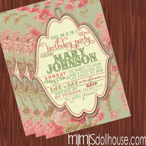 Vintage Invitation- Printable Vintage Floral Birthday Invitation or Shower Invitation PDF/JPEG