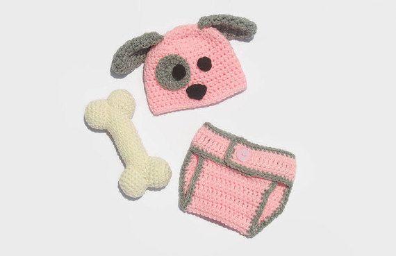Newborn Puppy Hat & Diaper Cover Newborn by DeesCozyCreations