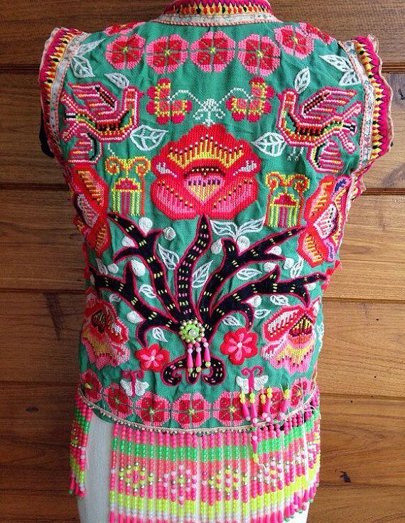 Vintage hmong hilltribe broderie de vêtements