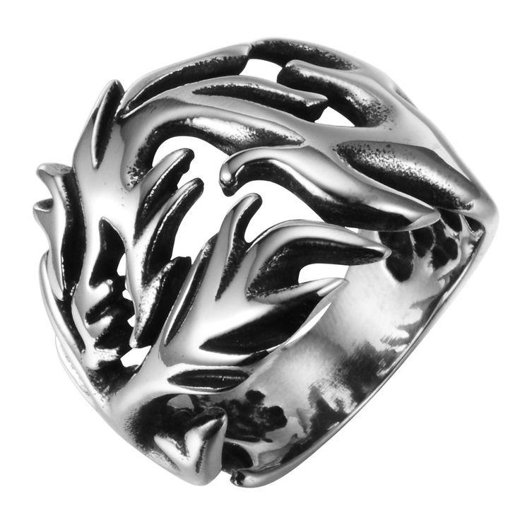 R&B Herren Ring Edelstahl - Kollektion Bad Ass - Dschungelfieber (Silber, Schwarz): 22,90€